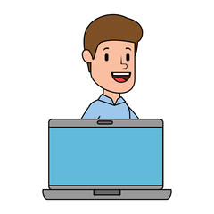 laptop with businessman avatar character vector illustration design