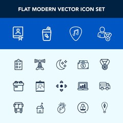 Modern, simple vector icon set with office, holiday, present, book, guitar, finance, online, win, money, mark, technology, picture, web, address, success, night, white, musical, business, list icons