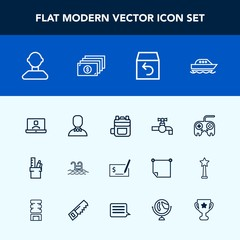 Modern, simple vector icon set with work, tap, video, arrow, backpack, award, summer, shipping, swimming, stationery, pay, water, finance, internet, rucksack, profile, faucet, male, boat, web icons