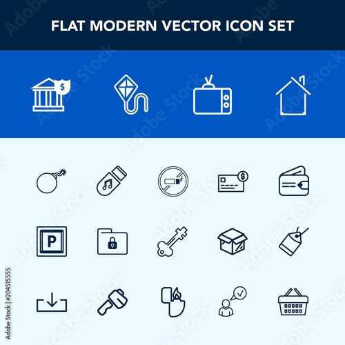 Modern, simple vector icon set with bomb, house, safety