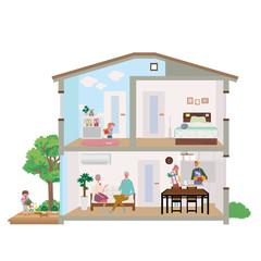 二世帯住宅 家 断面図 イラスト