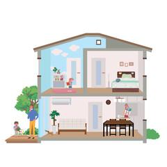 住宅 家 断面図 イラスト