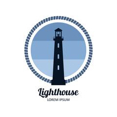 Lighthouse logo badge vector illustration