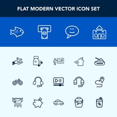 Modern, simple vector icon set with money, transportation, tank, business, property, house, vitamin, panzer, bike, video, medical, sea, support, estate, pharmacy, seafood, rent, meeting, coin icons