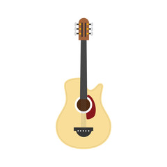 Vector illustration of an Acoustic guitar in cartoon style isolated on white background