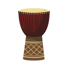 Vector illustration of a djembe in cartoon style isolated on white background