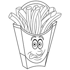 Coloring book. Coloring page. Colouring picture. French Fries.