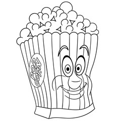 Coloring book. Coloring page. Colouring picture. Popcorn.