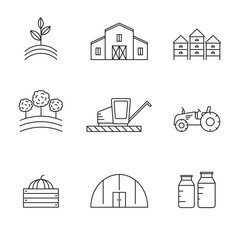 Farming and agriculture vector icons set