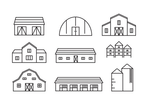 Farming and agriculture buildings vector icons set