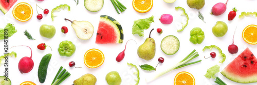 Fototapete Various vegetables and fruits isolated on white background, top view, flat layout. Concept of healthy eating, food background.