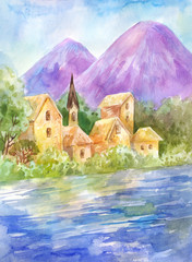 Watercolor summer landscape with lake or river, mountains