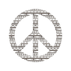 Peace of Peace symbol with ethnic pattern. Vector illustration.
