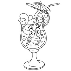 Coloring book. Coloring page. Colouring picture. Fresh Summer Cocktail.