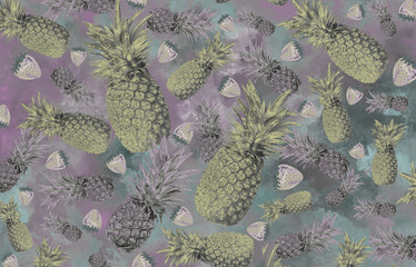 background with pineapple, watermelon