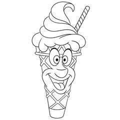 Coloring book. Coloring page. Colouring picture. Ice Cream Cone.