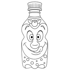 Coloring book. Coloring page. Colouring picture. Orange Juice Bottle.