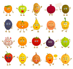 Set of vector characters. Various vegetables and fruits with faces in different poses. Cartoon characters with emotions, feelings and expressions.