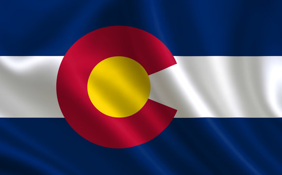 "Flag of the state Colorado. A series of ""flags of the United States of America"""