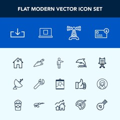 Modern, simple vector icon set with web, seat, sign, picture, hand, people, radio, equipment, chair, tool, nature, white, antenna, wrench, furniture, dish, wildlife, pointing, bag, home, blank icons