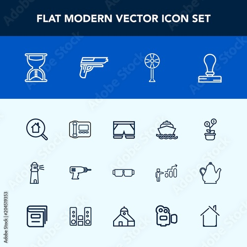 Modern, simple vector icon set with clock, search, sunglasses, real