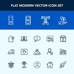 Modern, simple vector icon set with airport, blue, award, human, square, equipment, cream, education, pencil, profile, investment, luggage, optical, video, first, view, place, jet, time, box icons