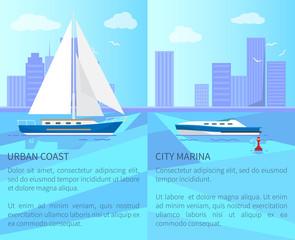 Urban Coast and City Marina Vector Illustration