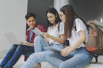 Group of young asian studying in university sitting during lecture education students college university.