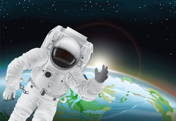Astronaut and Earth Poster Vector Illustration