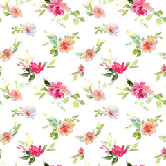 Wedding bridal bouquet seamless pattern red and pink and green flowers ornament