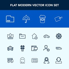 Modern, simple vector icon set with travel, estate, cup, business, folder, property, taxi, document, cafe, price, umbrella, rain, lighthouse, website, helm, crown, nautical, coffee, seamark, web icons