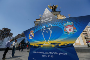 the logo of the Champions League Final is seen at the Independence Square in Kiev