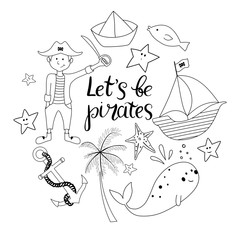 Collection of outline pirates objects isoated on white background.
