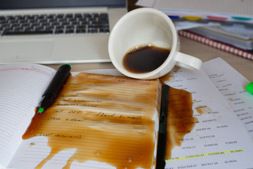 Spilled coffee on the desktop