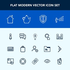 Modern, simple vector icon set with play, delete, help, button, building, location, safety, house, present, pin, account, sos, fashion, success, click, touch, security, male, people, progress icons