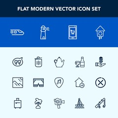 Modern, simple vector icon set with scenery, chat, train, phone, wooden, photo, white, speech, tea, nature, hot, guitar, travel, bird, tree, garbage, transportation, railway, online, seedling icons