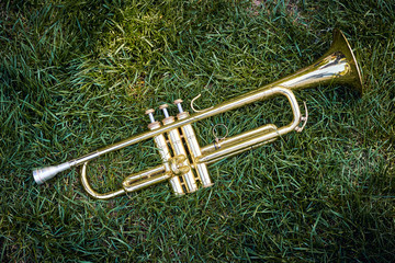 Closeup of brass musical golden orchestra trumpet.