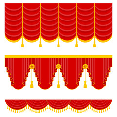 Lambrequin, pelmet for the red curtains of a theatrical scene in a concert hall, opera or ballet. Flat vector cartoon illustration. Objects isolated on a white background.
