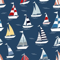 Marine seamless pattern with cartoon boats