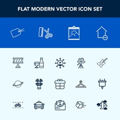 Modern, simple vector icon set with display, orbit, wine, movie, drum, communication, tripod, space, white, glass, video, present, photo, property, seamark, web, apartment, alcohol, decoration icons
