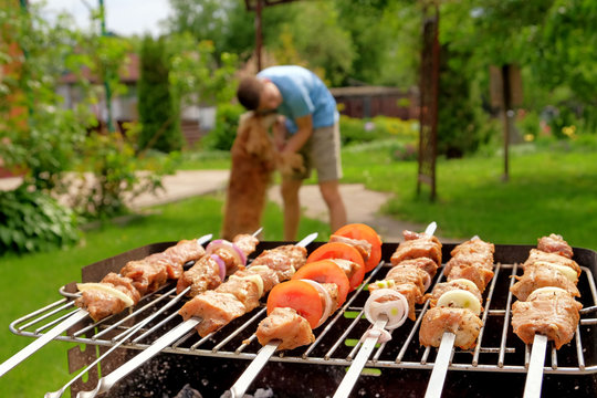 Pieces of shashlik on the skewer roasted on the grill. The boy and his dog blurred on the background. Selective focus, closeup view.