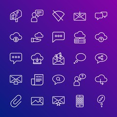 Modern Simple Set of cloud and networking, chat and messenger, mobile, email Vector outline Icons. Contains such Icons as  internet,  no and more on gradient background. Fully Editable. Pixel Perfect.