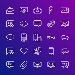 Modern Simple Set of cloud and networking, chat and messenger, mobile, email Vector outline Icons. Contains such Icons as  new, smart and more on gradient background. Fully Editable. Pixel Perfect.
