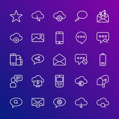 Modern Simple Set of cloud and networking, chat and messenger, mobile, email Vector outline Icons. Contains such Icons as mobile, money and more on gradient background. Fully Editable. Pixel Perfect.