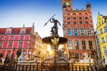 Beautiful fountain in the old center of Gdansk city, Poland Wall mural