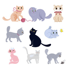 Set of cute funny cats with their daily activities