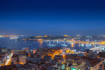 Long exposure panoramic cityscape of Istanbul at a warm calm eve