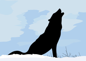 Concept wolf in winter snow calling for others