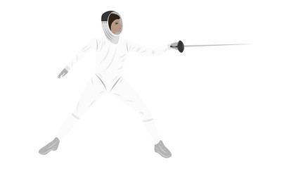 Fencer with rapier - isolated on white background - art vector. Sports Poster