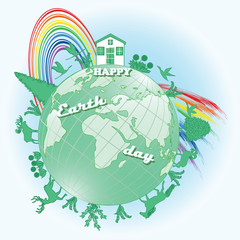 Globe surrounded by silhouettes of animals, trees, flowers, house - bright rainbow - inscription Happy Earth Day - art illustration vector